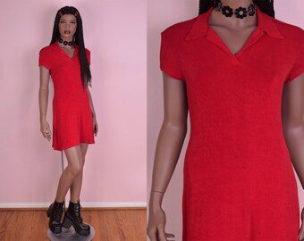 90s Red Polo Dress/ Medium/ 1990s/ Short Sleeve