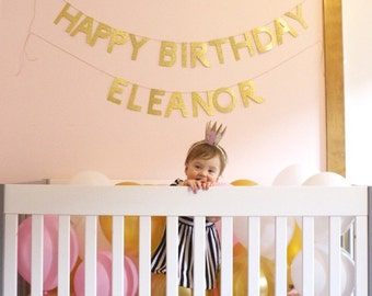 Glitter Gold or Silver 'HAPPY BIRTHDAY' Banner for Party, Photo Prop.