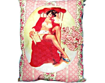 Cottage Chic Coquette Pillow Handmade Decorative Floral Bedding Decor Shabby Roses, Hand-Sewn Rosettes, and Red Sweetheart Vixen Pin Up Girl