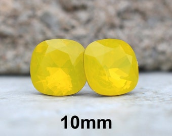 Yellow Opal Studs, Yellow Square Earrings, Rounded Square Studs, Cushion Cut Earrings, Swarovski, Opal Crystal Studs, 10mm Earrings, rostone
