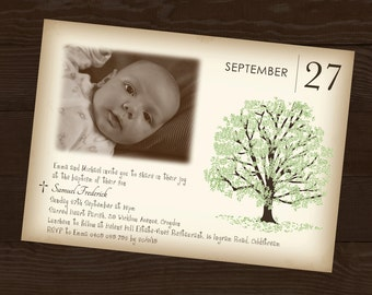 Photo Baptism Invitation with Tree design and Cross, Envelopes, Green Brown Baptism Invite for Girls or Boys Printable or Printed Photograph