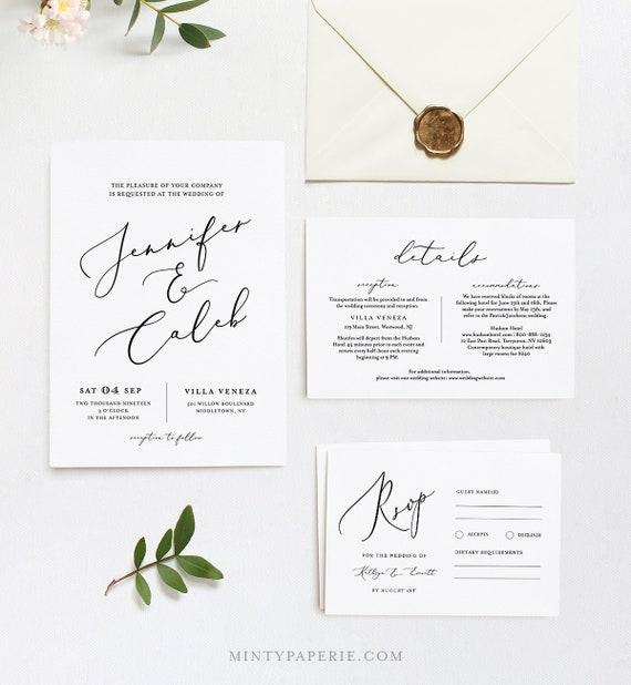Wedding Invitation Template, INSTANT DOWNLOAD, 100% Editable, Minimalist Invite, RSVP & Detail, Printable Modern Calligraphy, Templett #045C