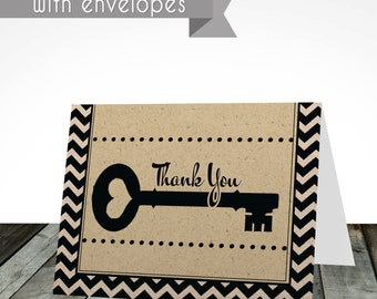 PRINTED thank you cards, digital or printed, shipped with envelopes, house warming, new home, thank you cards, thank you card, cards