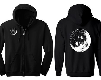 GEOMOON Hoodie Men's and Women's Geometric Moon Black Hooded Sweatshirt Sacred Geometry