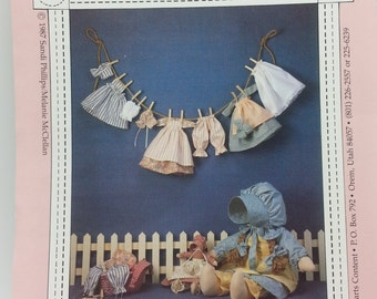 """Heart Content Laundry Days Pattern for 23"""" Doll with Cloths and 11""""inch Doll with Clothing Pattern (c) 1987 Sandi Phillips Melanie McClellan"""