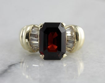 Vintage 1980's Garnet Statement Ring in Yellow Gold  T8V5X3-D