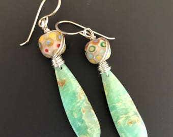 Luminous Chrysoprase and Artisan Lampwork Glass Drop Earrings with Sterling Silver Earwires and Wire Wrap