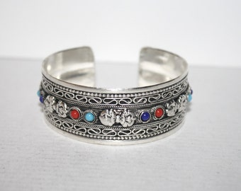 Vajra Bracelet, Tibetan Bracelet, Silver bracelet, Boho bracelet, Tribal Bracelet, Gypsy bracelet, Yoga bracelet BTBB23