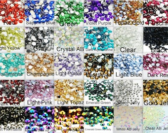 CHOOSE Size and Color Flatback Resin High Quality Faceted Rhinestones 1000 2mm 3mm 4mm 5mm or 200 6mm Diy Deco Bling Embellishments