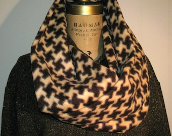 Infinity Fleece Scarf - Camel, Brown Houndstooth Scarf - Accessories for Him or Her - Vanilla, Dark Chocolate Winter Fleece Scarf or Cowl