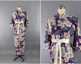 Vintage Silk Kimono Robe / Vintage Dressing Gown / Vintage Lingerie Robe / Loungewear / Ro Silk / 1930s 1940s Purple & White Floral Print