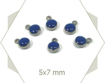 10 mini dark blue enameled steel AC61 charms