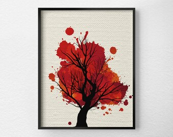 Tree Wall Art, Modern Home Decor, Fine Art Print, Modern Art Print, Nature Art Print, Tree Artwork, Office Decor, Red Art, 0305