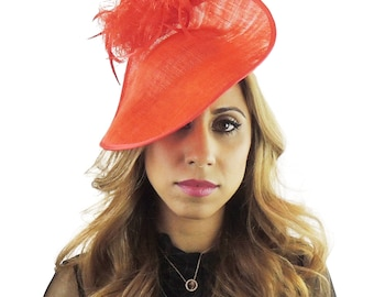 Red Charmeine Fascinator Hat for Weddings, Kentucky Derby With Headband (20 colours)
