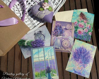 Postcards Lavender  Postcards with painting Collectible postcards Original painting Bright painting Oil on canvas Best present  For her