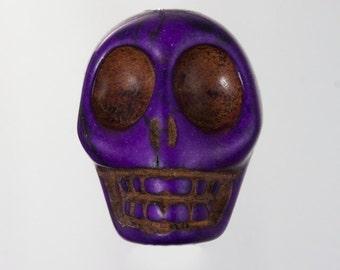 23mm Purple Howlite Skull  #3016