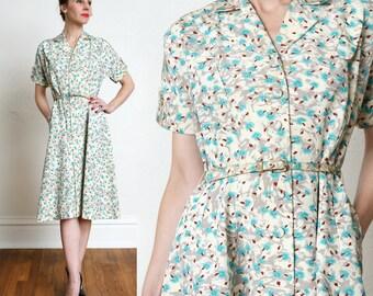 Vintage Printed Shirtwaist Dress