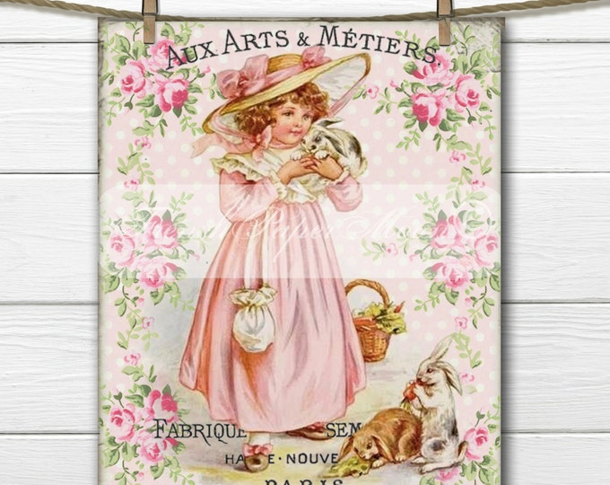 French Shabby Chic Victorian Bunny Girl, Vintage Easter Digital, Girl and Bunnies, Shabby Easter Digital Transfer Graphic