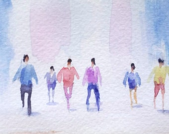 original watercolor painting ACEO figures walking on street people ,2.5x3.5 inches
