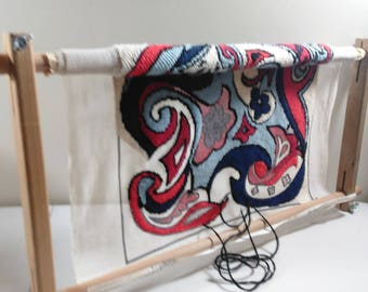 Pre Owned Scroll Frame With Unfinished Abstract Design Tapestry Hand Printed In Israel