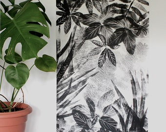 Hand printed black and white wall hanging, Flora II