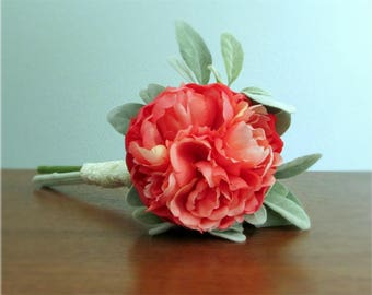 """Coral Single Stem Peony Bouquet with Lamb's Ear Greenery, Ivory Lace Stem Wrap, Petite Bridal or Bridesmaid Bouquet, """"Emmaline"""""""
