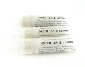 Green Tea and Lemon Lip Balm - All Natural. 100% Vegan.