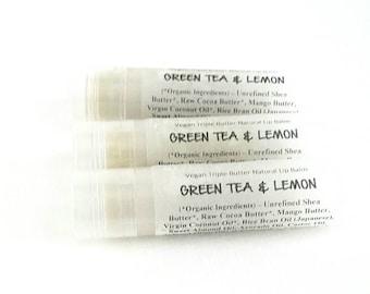 Green Tea and Lemon Lip Balm - All Natural. 100% Vegan.