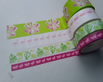 Set of 4 masking/washi tapes in pink and greens