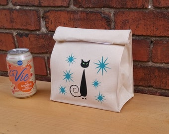 """Black Cat, SMALL Mid Century, Reusable Lunch Bag, Eco Friendly Bag ,10'' Tall,  7"""" Wide, 4"""" Deep"""