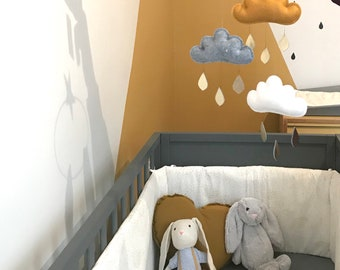 Yellow ochre baby mobile- neutral baby gift idea, neutral baby mobile. Yellow Ochre Nursery Decor-Cloud Mobile -Nursery-Neutral Boho Nursery