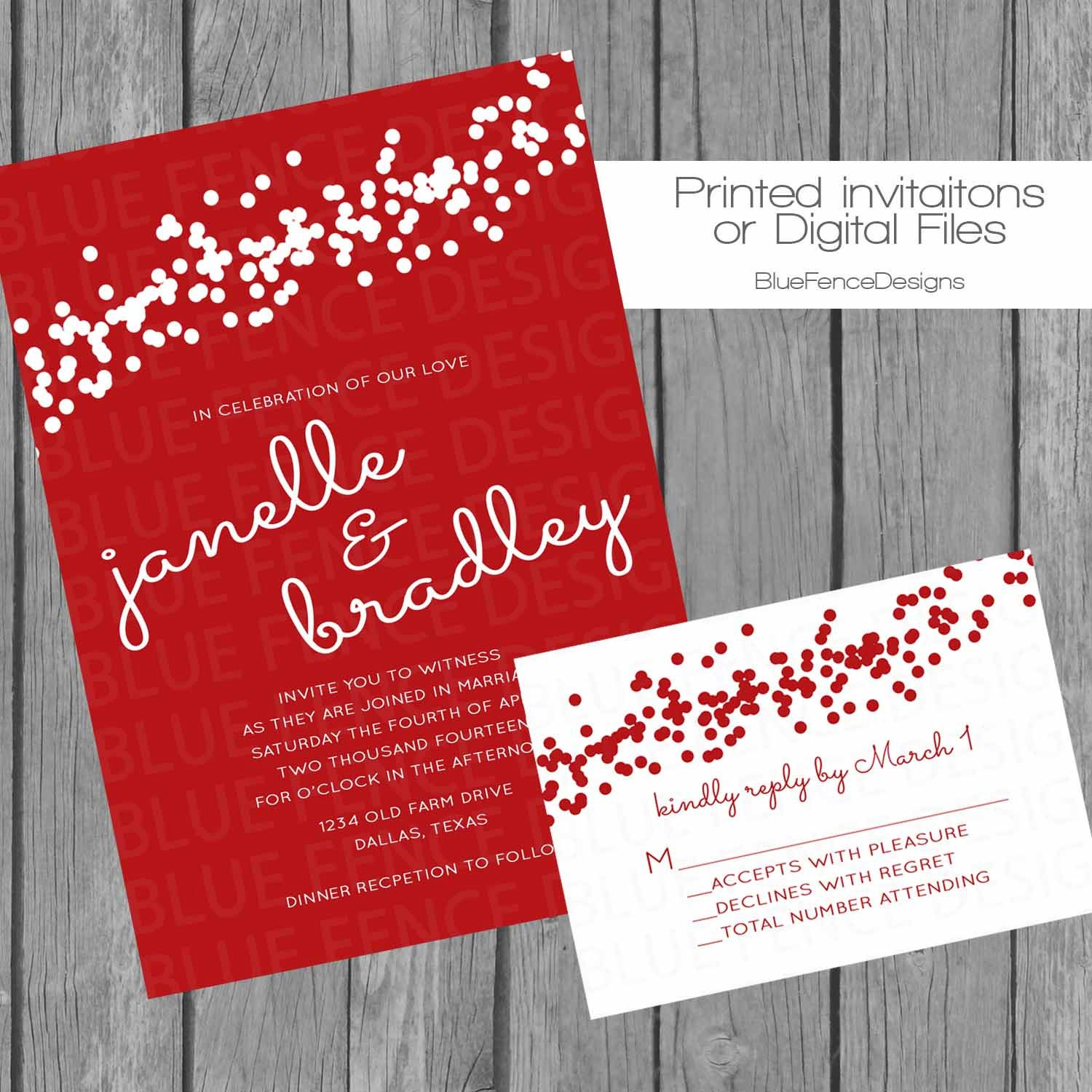 Diy red confetti wedding invitation engagement party invite zoom stopboris Gallery