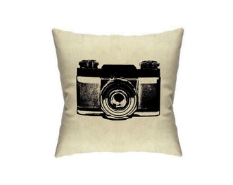 Pillow Cover Camera  Photographer Gift Home Decor Vintage Cameras Cushion Cover Linen Throw Pillow Accent Mid Century home