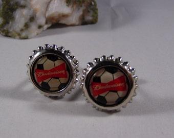 Budweiser Silver Round Cuff Links.