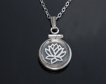 Lotus Locket in Sterling Silver or Gold - Size Small