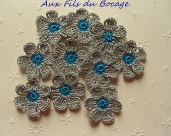 Crocheted appliques, set of 10 turquoise blue and grey flowers