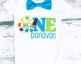 Boy first birthday Art Paint birthday Teal bow tie Artist cake smash outfit Boy first birthday Boy number 1 baby Paint first bday
