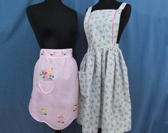 Vintage aprons - pink floral applique half apron & pink blue print bib apron