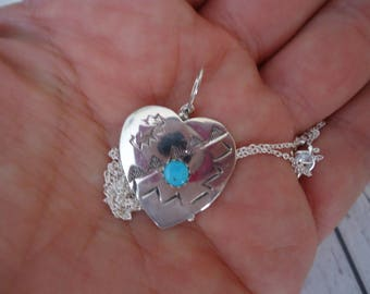 """925 Sterling Silver and Turquoise Stamped Heart Pendant on 18"""" Sterling Silver Chain, 4 Grams, Native American"""