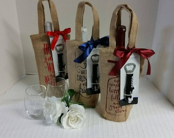 Ready to ship!  Burlap Wine Bottle bags with corkscrew, Personalized Wine Bottle Bags