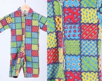 70s Baby Corduroy Jumpsuit // Vintage 1970s Patchwork Kids Collared Zip Up Outfit - 9 Months