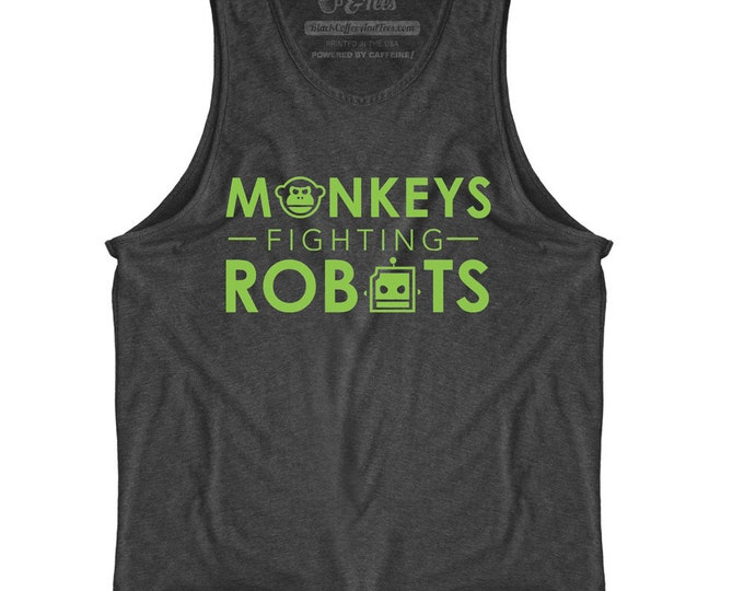 Monkeys Fighting Robots  - Mens Tank Top