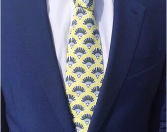 The Hildreth Tie in brushed cotton /Wedding Tie / Groomsman Tie / Mens Cotton Tie / Yellow & Grey Tie