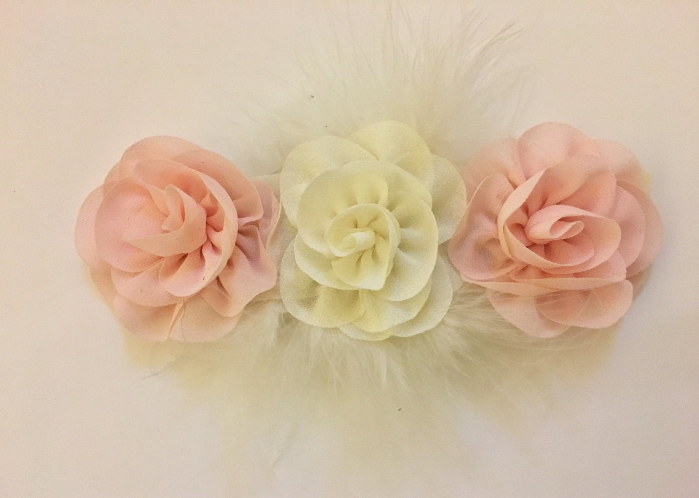 Blush Pink And Ivory Chiffon Flower Hair Clip Or Headband Chiffon