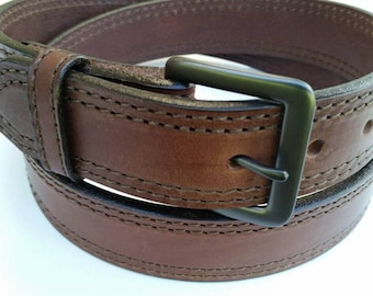 """Full Grain Leather 1-1/2"""" Double Row Stitched Medium Brown Work and Gun Belt Made in the USA (#1223) Gunmetal Buckle"""