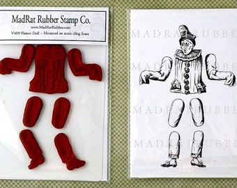 Vintage Pierrot Doll Static Cling Mounted Rubber Stamps