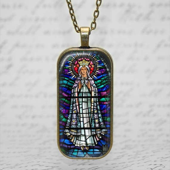 Our Lady of Knock, Ireland Stained Glass Art Pendant - Catholic Jewelry, Catholic Necklace, Blessed Virgin Mary