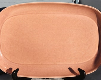 Vintage Coral Pink American Modern Serving Tray Designed by Russel Wright Produced for Steubenville