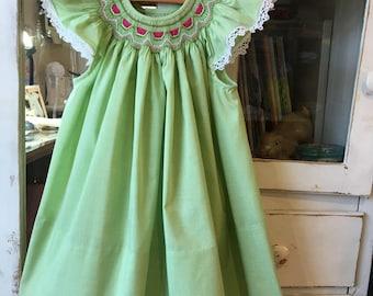 18 mo. Hand Smocked Watermelon Bishop Dress