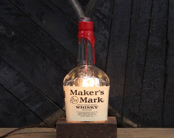 Handmade Recycled Maker's Mark Bourbon Bottle Lamp - Features Reclaimed Wood Base, Edison Bulb, Twisted Cloth Wire, In line Switch, And Plug